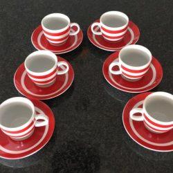 service à café 6 tasses rouge